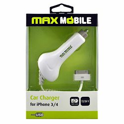 MAXMOBILE AUTO PUNJAČ ZA APPLE I-PHONE 3/4 bijeli 1000mah