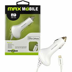 MAXMOBILE AUTO PUNJAČ ZA APPLE iPhone 5/6/7/8/X/11/12 white 1000mah MFI Apple