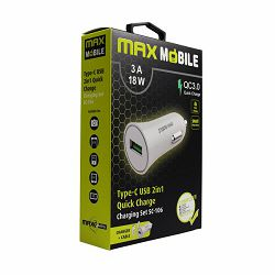MAXMOBILE AUTO ADAPTER USB  SC-106 QC 3.0,18W QUICK CHARGE 3A + TYPE C bijeli