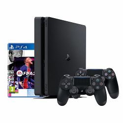 PlayStation 4 500GB F Chassis Black + FIFA 21 + PS Plus 14 Days voucher + dodatni DS4 kontroler
